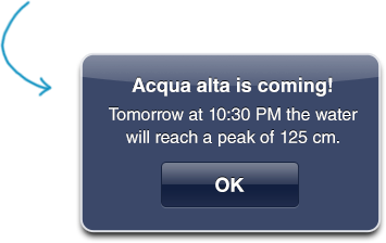 Push notifications on 'acqua alta' in Venice